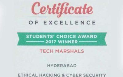 Tech Marshals the Winner of UrbanPro Excellence Award 2017 For Cyber Security Training